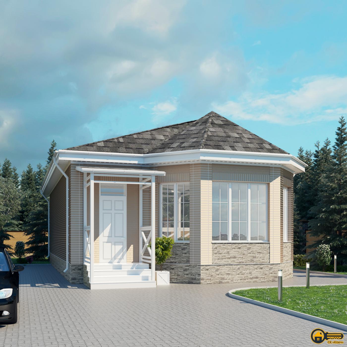 Проект 1 этажного дома площадью 85 кв.м. | СК «Ключ»